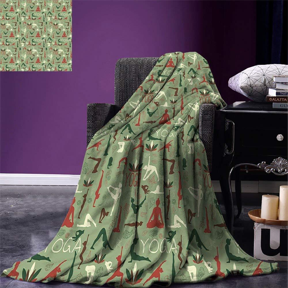 Yoga Throw Blanket Meditation Poses Lotus Seal Paisley Ornamental Pattern Fitness and Healthy Lifestyle Warm Microfiber