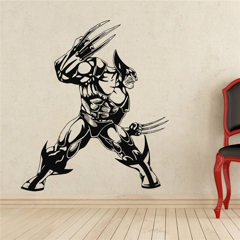 Adhesivo de pared Wolverine de superhéroe, Adhesivo de pared de vinilo decorativo, pegatina impermeable extraíble X128