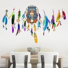 드림 캐처 플라잉 깃털 벽 스티커 기호 인도 홈 장식 침실 거실 벽 데칼 아트 포스터 벽화