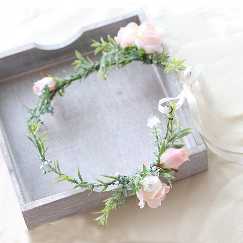 Flor Rosa romántica, diadema para novia, boda, graduación, boda, verde, accesorios para...