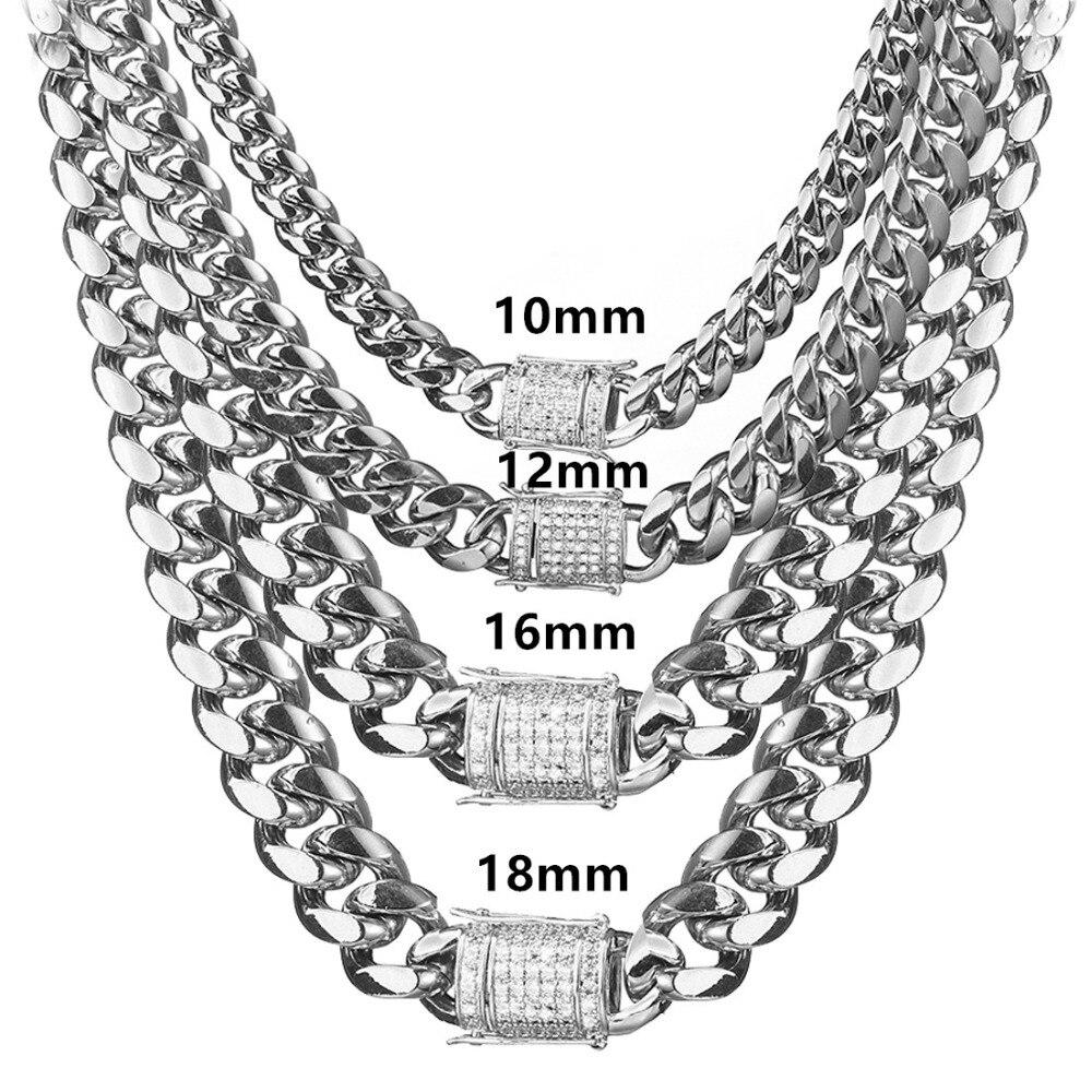8/10/12/14/16/18mm acier inoxydable argent Miami chaîne cubaine collier ou Bracelet cristal Dragon serrure fermoir hommes femmes bijoux