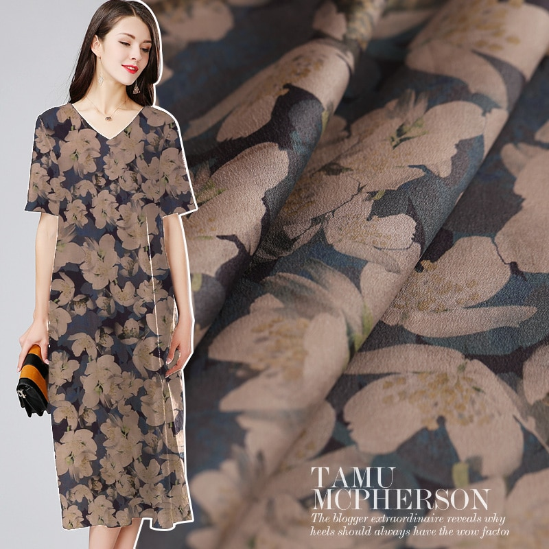 Vestido cheongsam de tela de gasa de Cantón de satén pesado, tela de seda natural, venta al por mayor de tela de seda