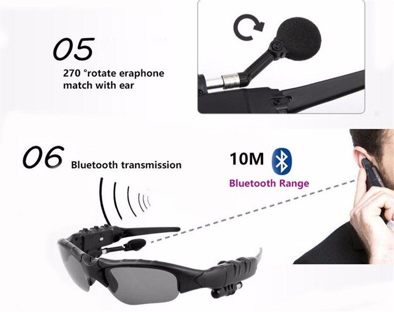 Nuevo espiado 3 D de sol estilo de gafas auriculares BLuetooth auriculares gancho para conducción deportiva en bicicleta
