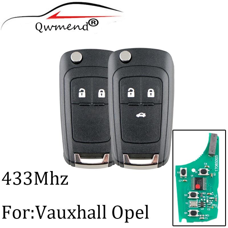 2 кнопки 433 Мгц дистанционный ключ для Opel Vauxhall Astra J Corsa E Insignia Zafira C 2009-2015 транспондер чип ID46 оригинальный ключ