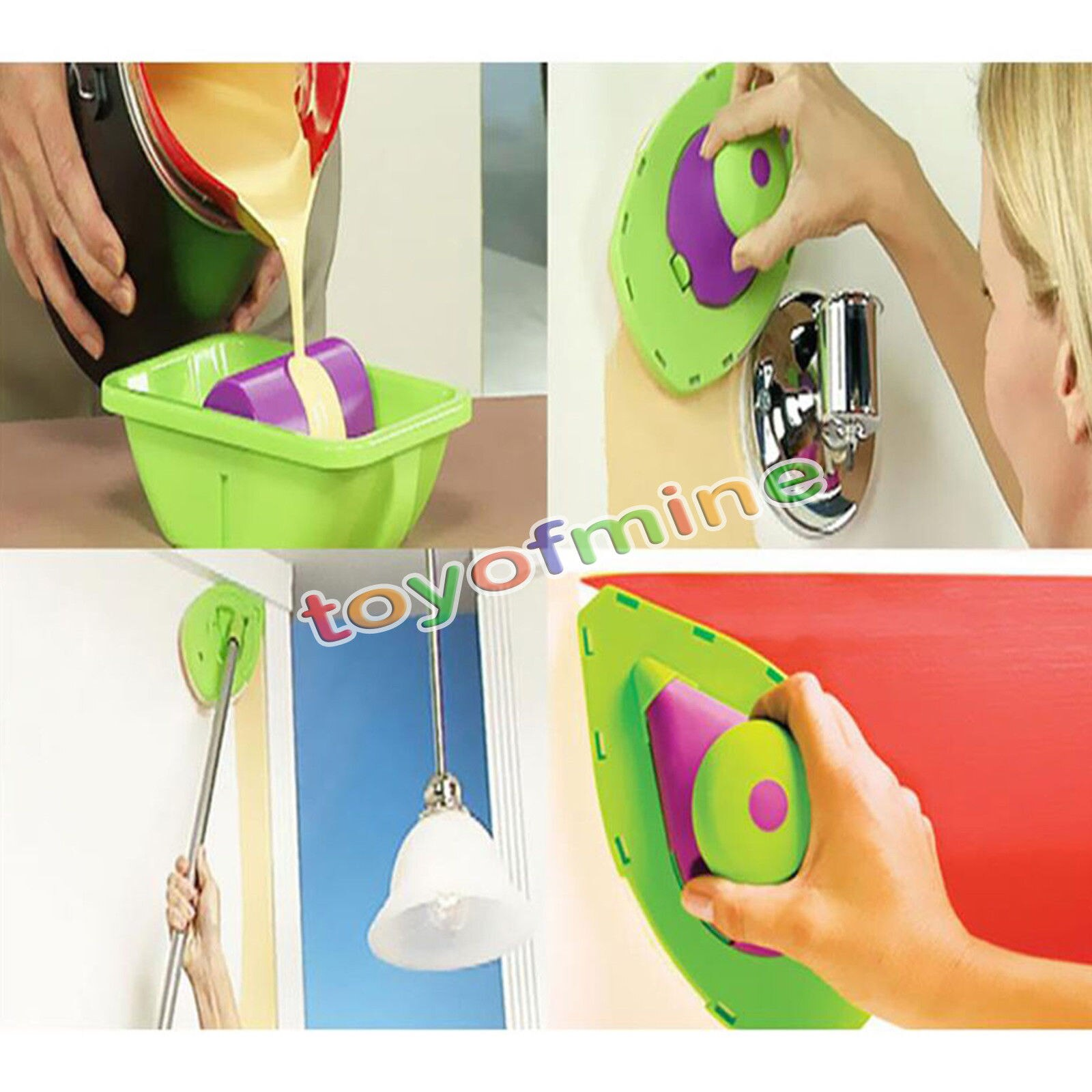 Fácil almofadas de pintura ponto pintura rolo bandeja decorativa ferramenta multifunções + 3 esponja conjunto kit