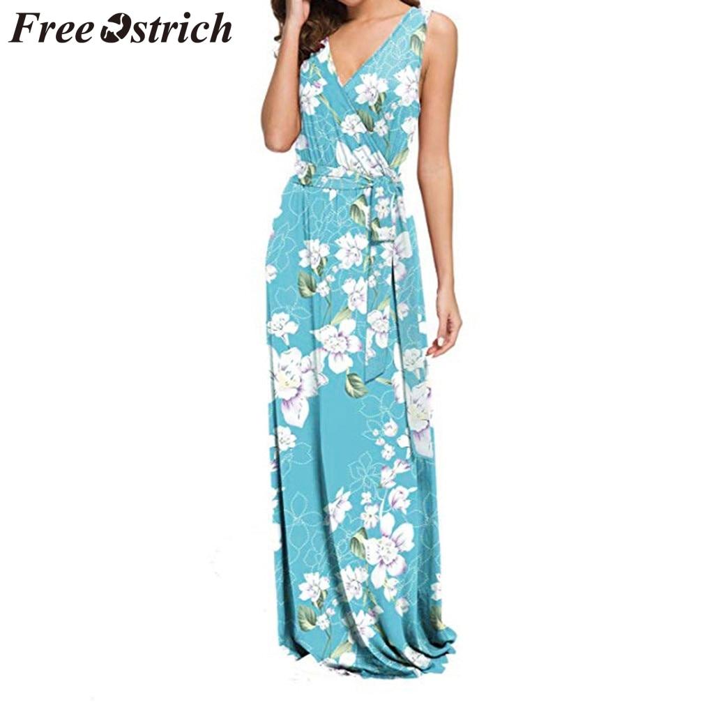 Vestido de FREE OSTRICH de las mujeres sin mangas con estampado Floral cinturón Maxi luz azul cuello en V suelto digna Noble y elegante vestido largo de verano
