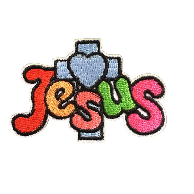 ¡Novedad! parches de hierro bordados con cruz cristiana con Jesús coloridos para ropa, apliques decorativos de bordado DIY, 10 unids/lote