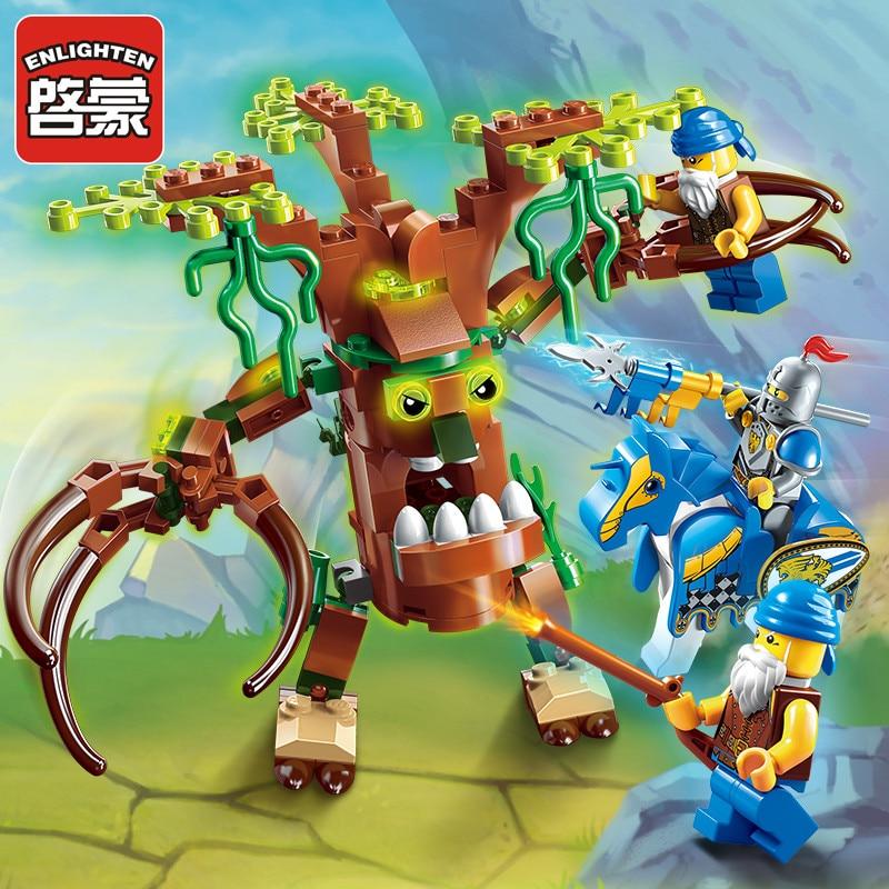 Iluminar bloco de construção guerra da glória elfos castelo cavaleiros ent witchclaw 3 figuras 131 peças tijolos educativos brinquedo dom do menino-sem caixa