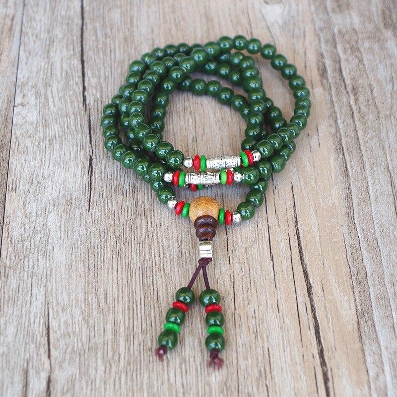 6MM 108 Ceramic Beads Tibetan Buddhism Chakra Bracelet Yoga Healing Mala Charm Strand Bracelet Handmade Lucky Bracelets