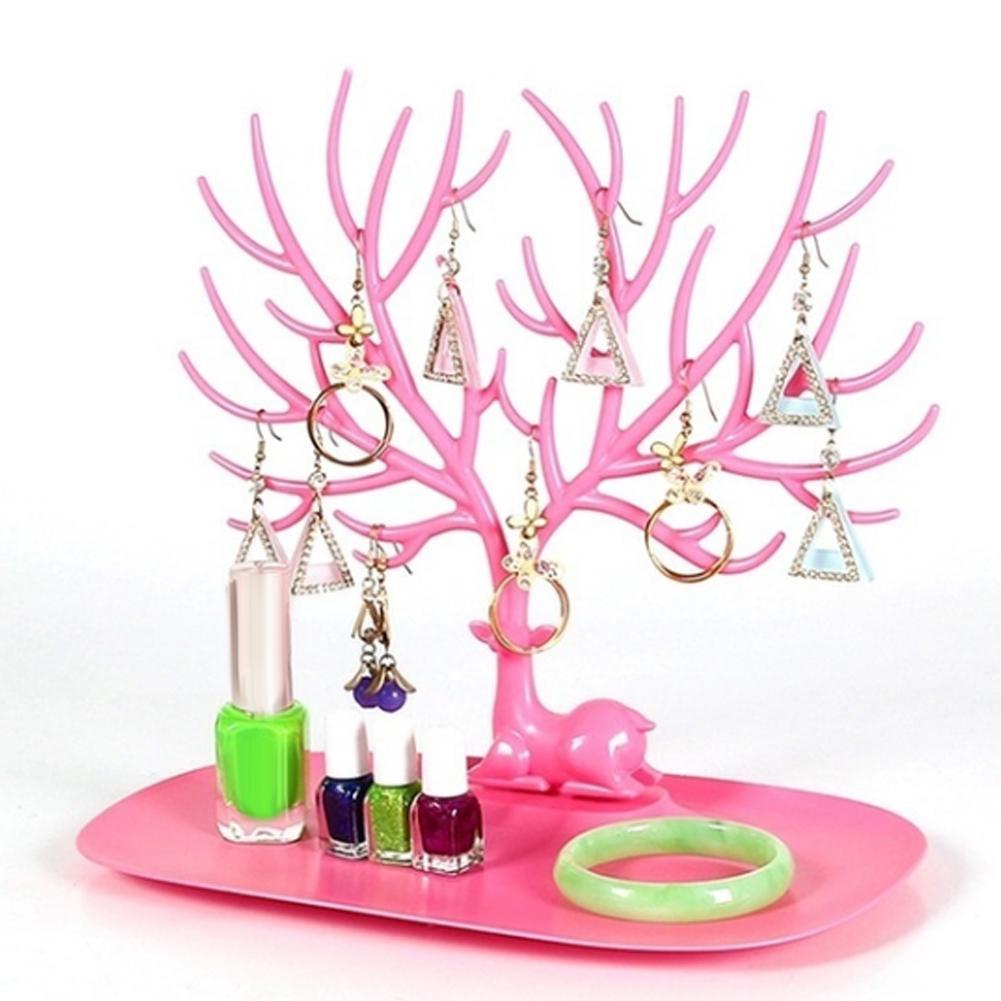 Горячая-олень-дерево-ювелирные-изделия-стойка-дисплей-серьги-ожерелье-браслет-кольцо-Органайзер-тренд