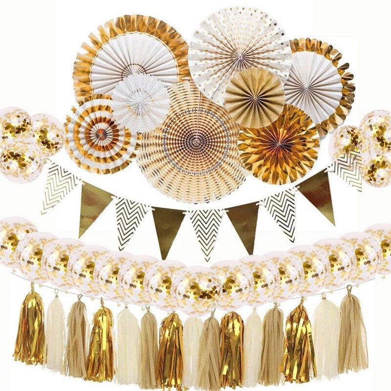 Ouro de prata fã de papel flor balão conjunto 12 polegada confetes decoração bola ouro prata borla festa aniversário fundo fontes
