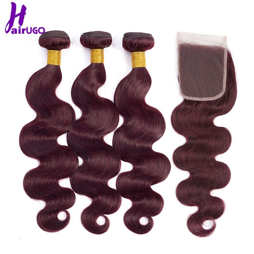 HairUGo paquetes de pelo malayo de la onda del cuerpo con el pelo Remy de la doble trama del pelo humano del Ombre de Borgoña del cierre
