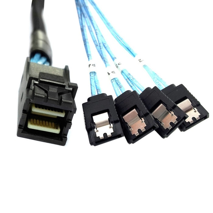 Internal Mini SAS SFF-8643 Host to 4 SATA 7pin Target Hard Disk 6Gbps Data Server Raid Cable 50cm 1m