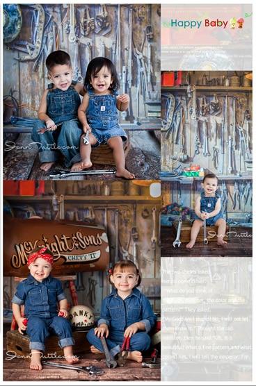 5*7ft Happy Cow Babies with Car parts photo studio portrait photographic background for children