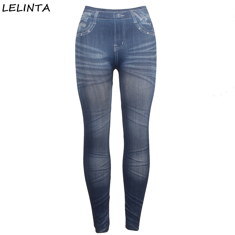 LELINTA Women's Power Flex Sportes Pants Wrokout Legging Elastic Stretch Imitation Jeans Body Building Fitness Slim Pants