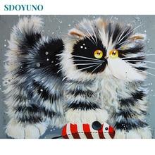 SDOYUNO-cadre peinture de chat   Peinture principale par numéros, animaux, peinture acrylique peinte à la main, peinture à lhuile pour cadeau Unique 40x50cm