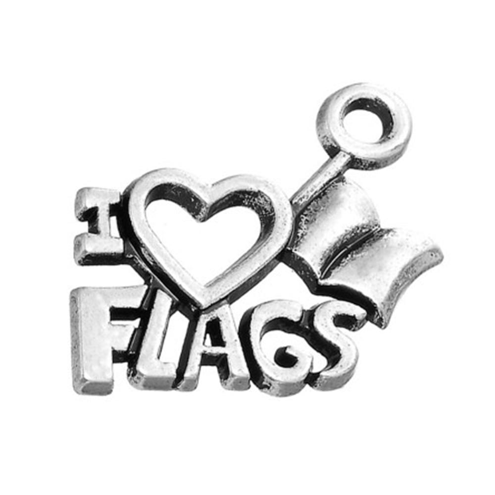 Plata plateada del Tíbet me encanta accesorio de banderas colgante con palabras de abalorios para pulseras