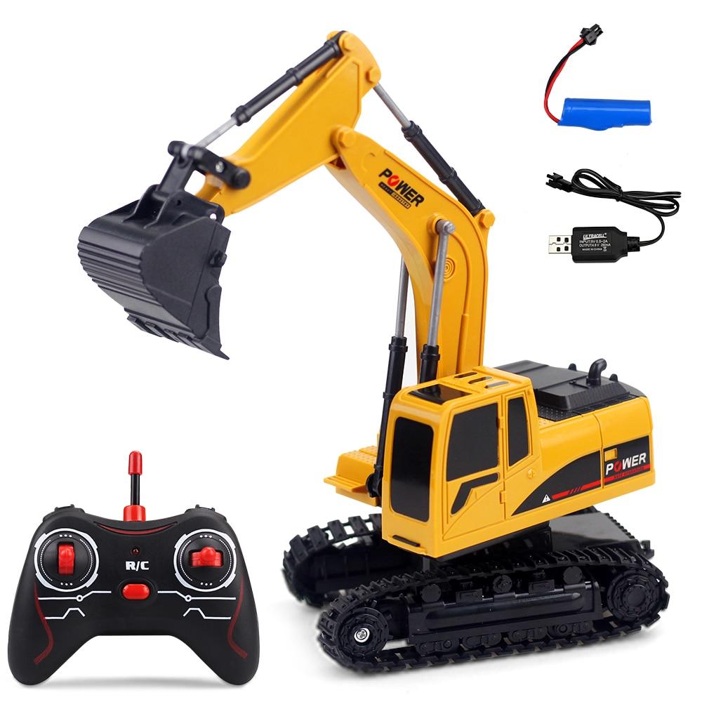 Juguetes de simulación 1/24 RC excavadora con luces y sonidos RC coche construcción Tractor Metal pala niños juguete regalos