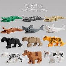Voor Panther Sneeuw Luipaard Krokodil Tijger Dier Koe Vee Paard Shark Model Bouwstenen Set Bricks kits Bricks Speelgoed