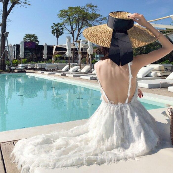 2019 mujeres vestido de pluma de moda de verano elegante Casual fiesta playa pista Sexy espalda descubierta Spaghetti Strap largo Maxi vestido blanco