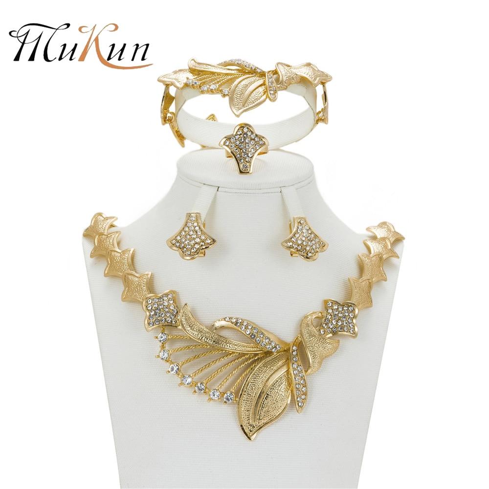 Mukun africano conjuntos de jóias ouro cor nigeriano casamento para as mulheres cristal jóias casamento nupcial conjunto de acessórios de casamento