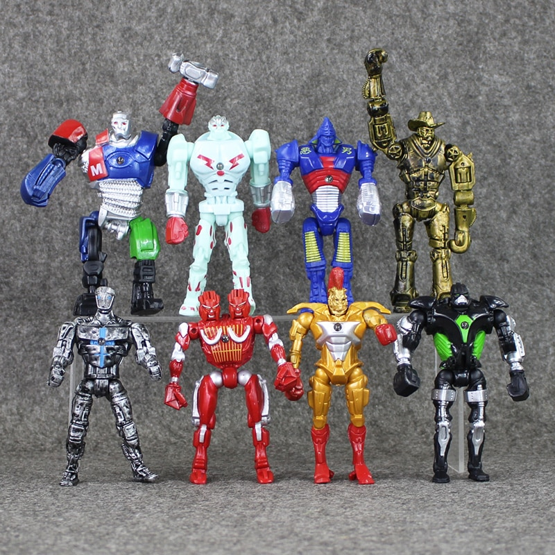 8pcs/lot Action Figure Real Steel Toys Atom Movie Zeus Twin Cities Midas Robot PVC 13cm gift doll Model Anime Non-JAKKS robot