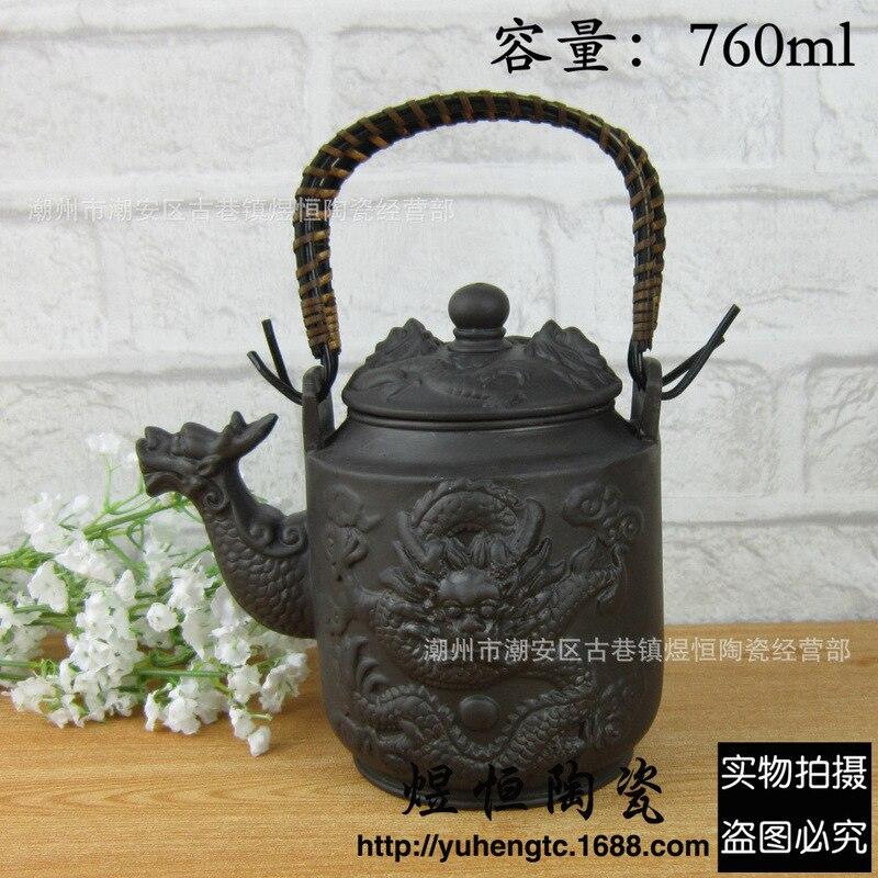 De venta directa al por mayor recomendado Super capacidad de fijación olla de antigua tetera dragón tallado tarro de 760 ml