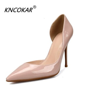 KNCOKAR Patent Leather New Style Shallow Mouth Side Empty Sexy Superfine Heel Female Bridesmaid Shoe Social Shoes Pointed Head