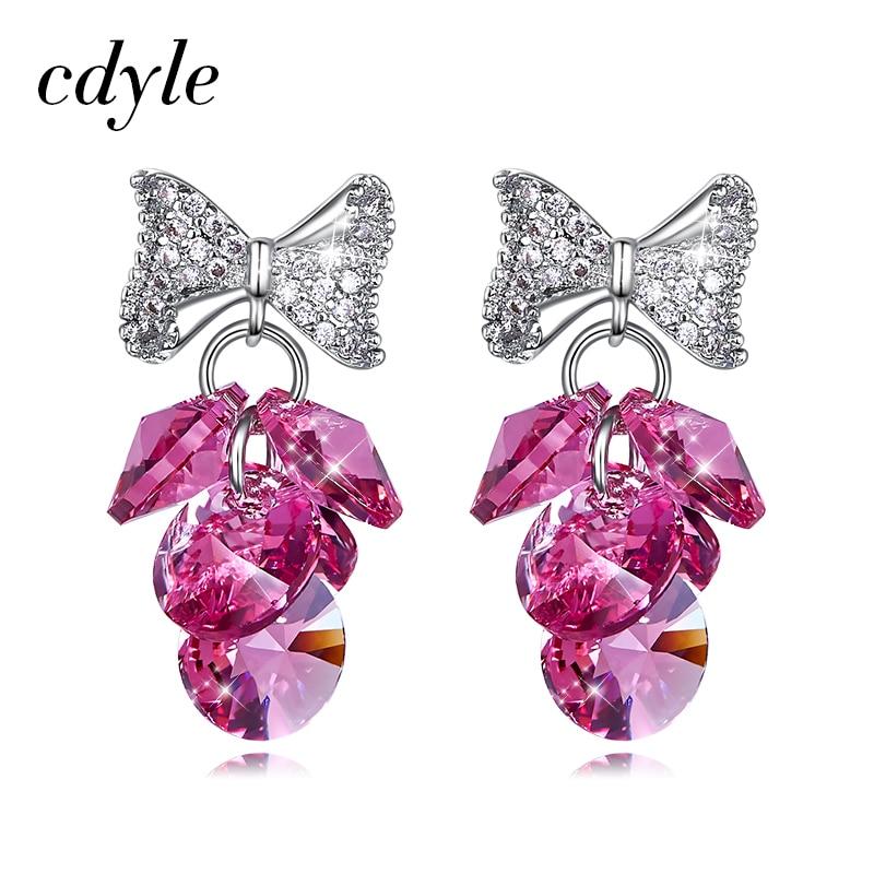 Женские серьги с бантами Cdyle, розовые/AB цвета/черные серьги-капли с кристаллами винограда, свадебное ювелирные украшение невесты Bijoux