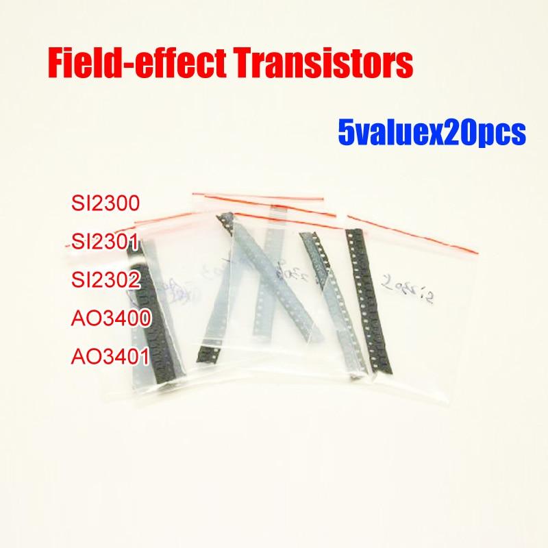 5valuesx20 stücke = 100 stücke SMD Feld-effekt Transistoren SOT23 Assorted Kit SI2300 SI2301 SI2302 AO3400 AO3401