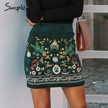 Simplee Vintage taille haute jupes femmes bas Boho crayon velours côtelé hiver jupe femme broderie automne sexy vert mini jupe