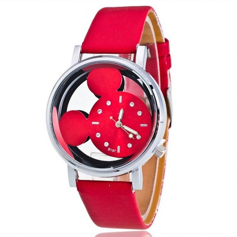 2018 nueva moda mujer dibujos animados estudiante pareja relojes transparente cuero con agujeros señoras vestido reloj femenino relojes