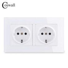 COSWALL duvar kristal cam Panel güç soket fiş topraklı, 16A ab standart elektrik çift çıkışlı 146mm * 86mm