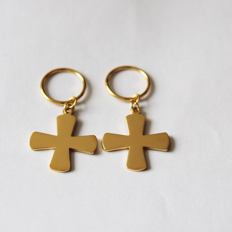 Kiribati-أقراط من الفولاذ المقاوم للصدأ للنساء ، أقراط متدلية ، لون ذهبي 24 قيراط ، مجوهرات ، نيوزيلندا