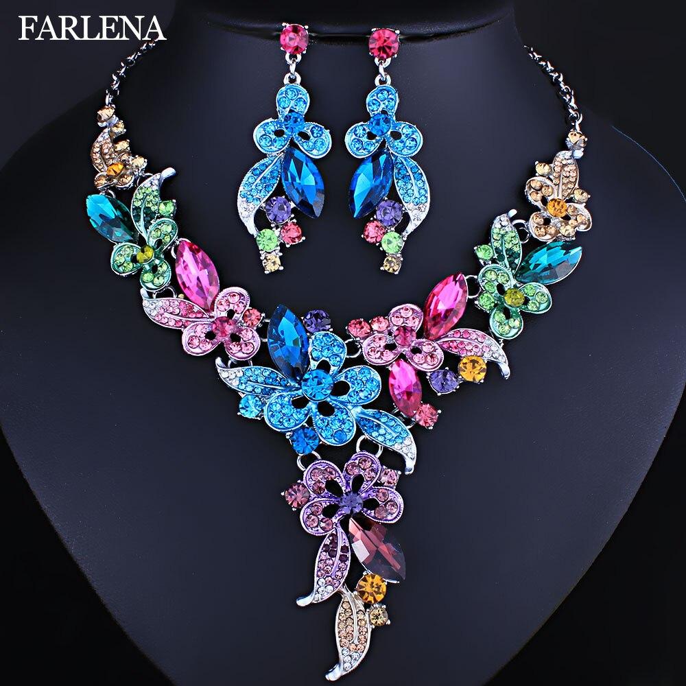 Joyería de boda FARLENA, diamantes de imitación de cristal Multicolor, collar de flores, conjunto de pendientes para mujeres, conjuntos de joyería nupcial africana