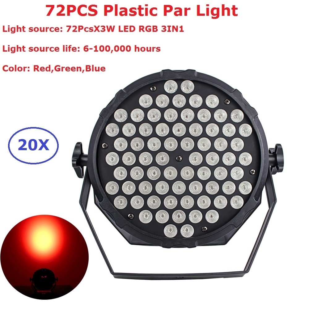 20 piezas Luz Par Led 72X3W 3 en 1 RGB plástico plano LED Par latas lámpara de Discoteca Luces de escenario Luces Discoteca láser haz de Luz de proyector