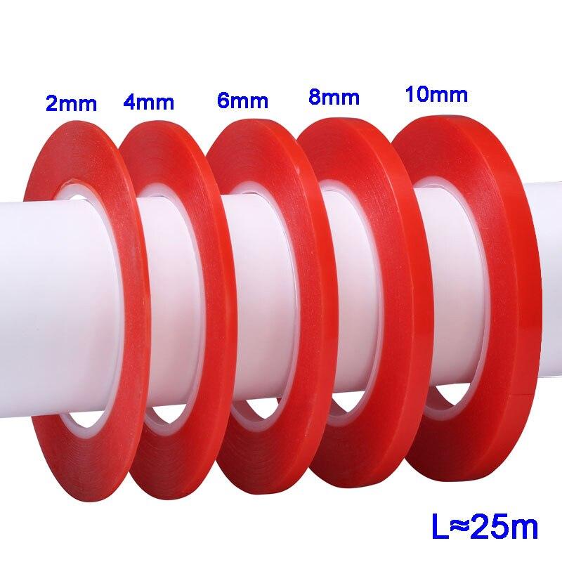 25 м термостойкая двухсторонняя прозрачная клейкая лента стикер 2 мм 4 мм 6 мм 8 мм 10 мм Мобильный телефон инструмент для ремонта lcd