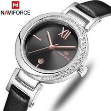 NAVIFORCE Top Marke Frauen Uhr Blume Damen Armbanduhr Echtes Leder Band Armband Weiblichen Uhr Neue Relogio Feminino