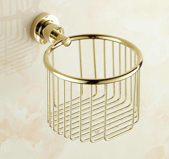 De lujo de oro pulido Color latón baño montado en la pared de rollo de papel higiénico cesta titular baño accesorio mba624