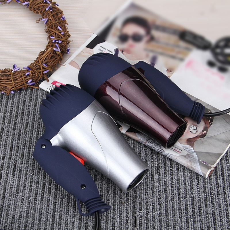 1500W Mini ventilador de pelo plegable Enchufe europeo secador de pelo eléctrico para el hogar con boquilla de recogida pelo de bajo ruido secador