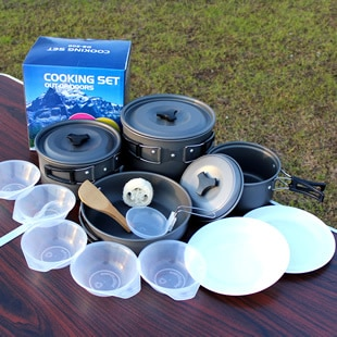 طقم أواني طهي خارجي ، 3-5 أشخاص ، للتخييم ، وعاء ، وعاء ، AL500