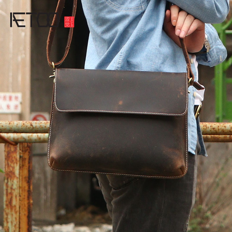 AETOO Crazy horse leather men poor package hand leisure cowhide personality shoulder bag Messenger bag leather retro pac