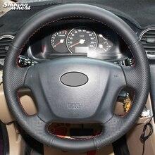 Couverture de volant de voiture en cuir noir   Blé brillant, cousu à la main, pour Kia Carens, 2007-2011