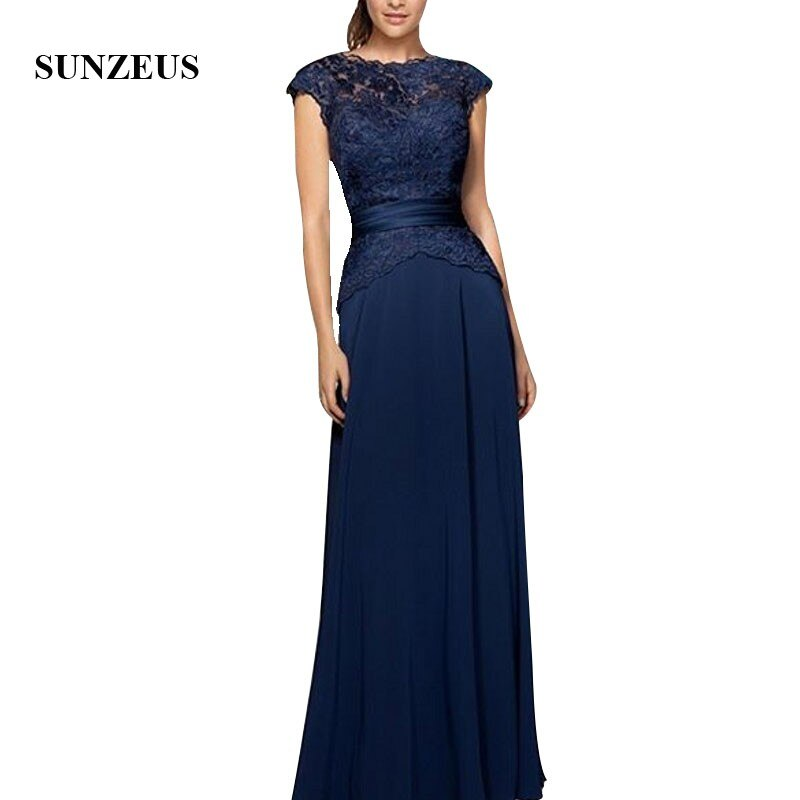 A-line Long Bride Mother Dresses Lace Cap Sleeves Navy Blue Chiffon Mother Of The Groom Gowns Lady P