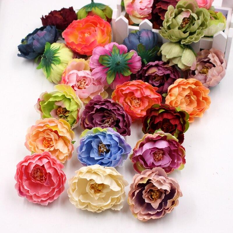 5 шт. 6 см искусственный цветок, высокое качество, ткань, градиентный пион, свадебное украшение, DIY, скрапбук, Подарочная коробка, цветок для тв...