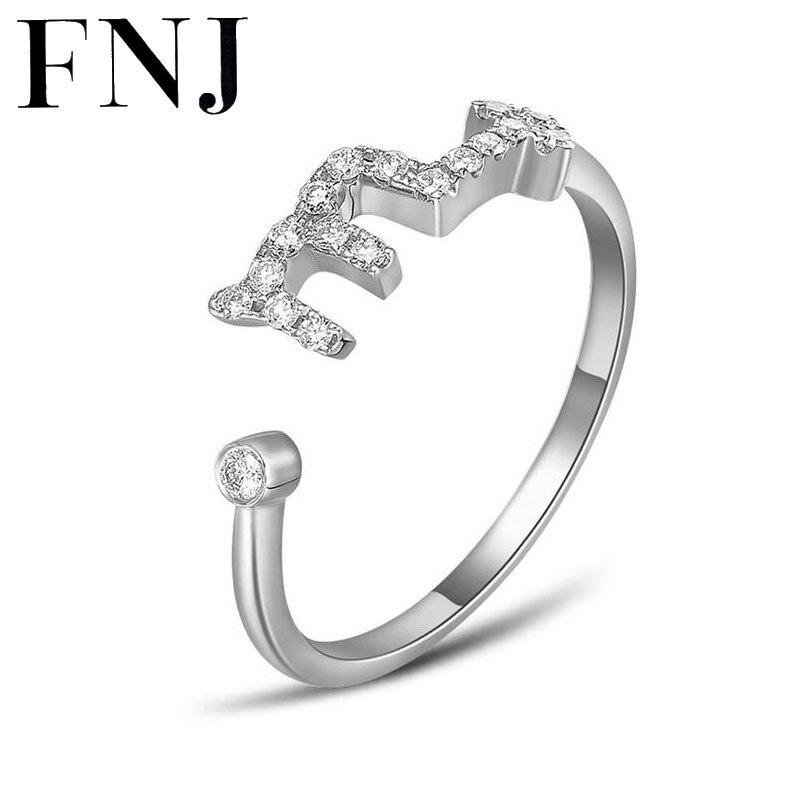 FNJ de plata 925 anillo de constelaciones para las mujeres boda Punk cristal AAA circón cúbico 100% S925 esterlina sólido anillos de plata