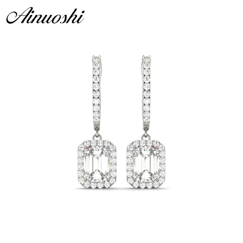 Luxury Emeraled Cut Drop Halo Earrings Lover Square 925 Sterling Silver Women Engagement Party Drop Earrings Jewelry