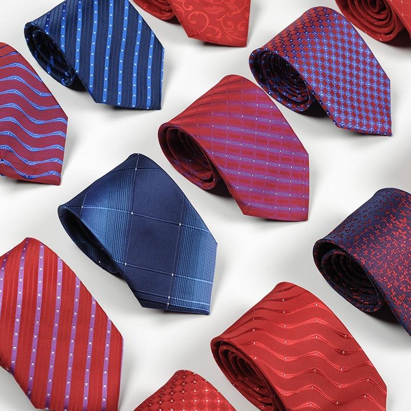 Популярный мужской галстук деловой 8 см синий красный галстук лучший мужской свадебный галстук шелковые полосы галстук аксессуары в подаро...