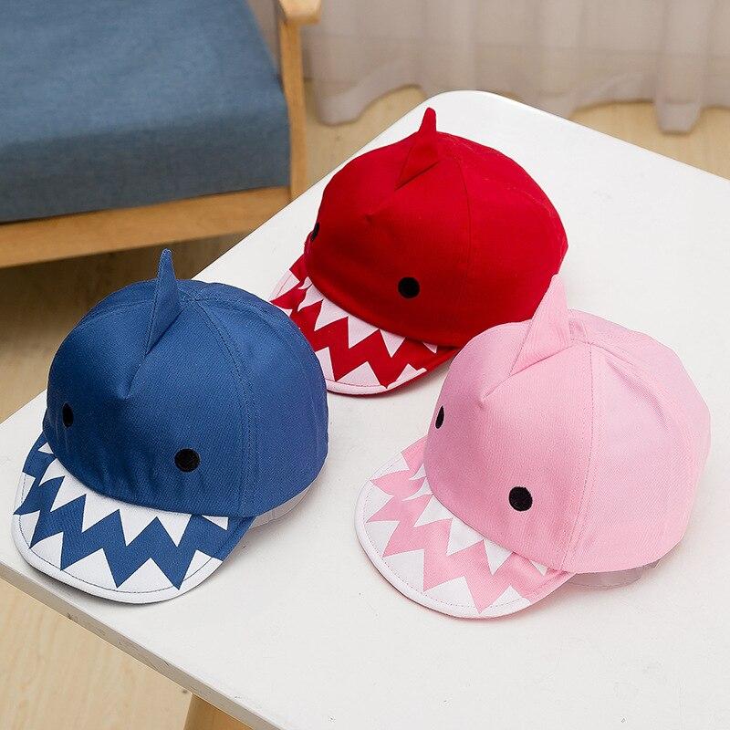 Childrens caps, soft hats, boys and girls, spring cartoon hats, baby baseball caps, sharks