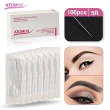 Maquillaje permanente hojas de tatuaje de cejas maquillaje ocular 100 piezas 5R aguja redonda G528